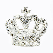 Silver crystal crown brooches FP