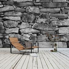 FOTOTAPETE Black & White Stonewall 366 x 254cm 3D Steine Steinwand Schwarz Weiß