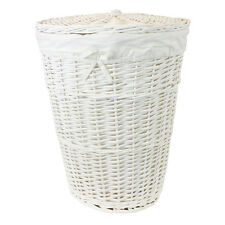 JVL Round Wicker Lidded Laundry Clothes Basket with Lining, White
