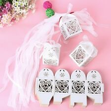 100PCS Love Heart Laser Cut Candy Gift Boxes With Ribbon Wedding Party Favors