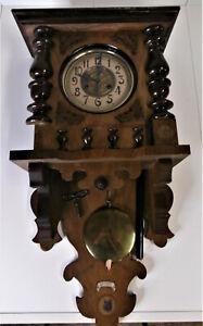 Antike Wanduhr Säulen Uhr Pendule Regulator Holz Ziffernblatt geschnitzt 1940