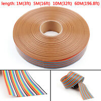 10 12 14 16 20 26 30 34 40Pin Couleur Rainbow Ribbon câble Wire Plat 1.27mm AF