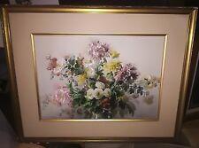 Tableau grande aquarelle XVIIIÈME fleurs nature morte Cocut