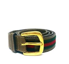VINTAGE 1970's GUCCI Signature Green Red Nylon Brown Leather Gold Buckle Belt
