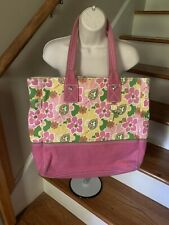 TOMMY HILFIGER Hawaiian Luau Floral Beach Tote Bag 25 X 17 Thick Canvas ❤️tw11j
