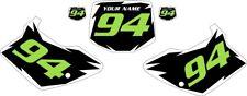 1994-1998 Kawasaki KX125 Pre-Printed Black Backgrounds White Shock Green Number