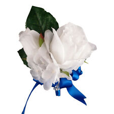 White Royal Blue-Corsage Boutonniere-Wedding event meeting-Pin style