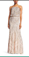 ADRIANNA PAPELL LONG GOWN/LENGTH 62'/ HALTER BLUSON BEADED DRESS/SIZE 14/SHELL