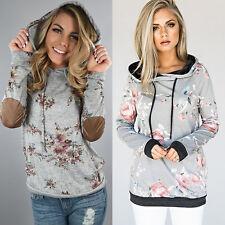 Damen Blumen Hoodie Sweatshirt Langarm Kapuzen Pullover Pulli Bluse Übergröße