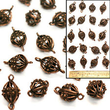 """LG 1"""" Solid Copper Bali Turkish Dot Filigree OVAL CONE CONNECTOR Cage Beads 20"""