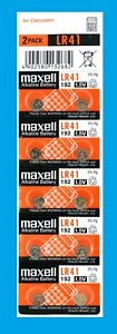 10 count of Maxell LR41 AG3 192 1.5V Alkaline Button Cell Thermometer Battery
