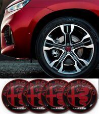 Alfa Romeo 50mm x4 BLACK & RED wheel centre hub caps