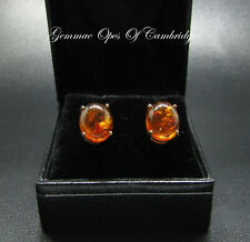 Large 9K gold 9ct Gold Oval Cabochon Amber Stud Earrings 2.41g 11mm x 9mm