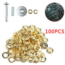 100Pc Tent Punch Grommets Tarp Repair Kit Hole Cover Eyelets Tarpaulin Awning