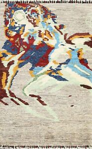 New Abstract Contemporary Area Rug Oriental Hand-knotted Wool 3x4 Kitchen Carpet