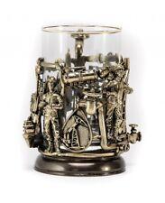 Brass Casting Glass Holder Podstakannik w/glass GIFT SET OIL MAN #51
