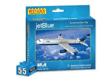 BEST LOCK JETBLUE AIRPLANE CONSTRUCTION TOY 55 PIECE BRICK TOY