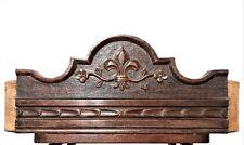 Solid architectural gothic fleur de lis pediment Antique french salvaged crest 1
