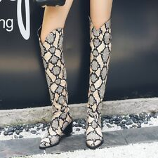 AU Women Snakeskin Riding Low Heel Cowboy Knee High Boots Pull On Shoes Leather