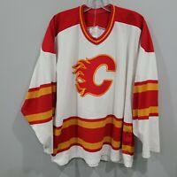 Rare VTG 90s CCM Maska NHL Calgary Flames 25 Hockey Jersey Mens L White Sewn