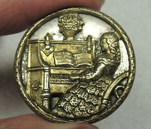 ANTIQUE BRASS PICTURE BUTTON  ~ JENNY LIND AT THE PIANO