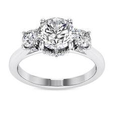 Halo Three Stone 1.00 Carat SI1/H Round Diamond Engagement Ring White Gold