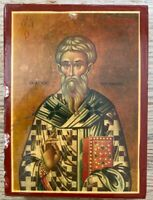"St. Hierotheos, Bishop of Athens Greek Orthodox 4x6"" Handmade Wooden Icon"