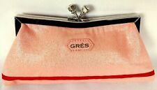 Grès Paris Evening Clutch Bag Vintage Glossy Pink Salmon Rare Rhinestone Closure