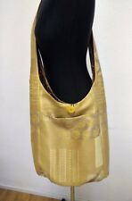 Cross body,hippie,large messenger golden bag hand made with two pockets