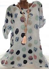 Leinen Optik Tunika Shirt Dieta (Weiß Gepunktet) Gr.42-44-46 Damen Kurzarm Bluse