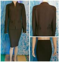 ST. JOHN Collection Knits Brown Jacket & Skirt L 10 12 2pc Velvet Embroidery