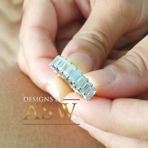 14K SOLID WHITE GOLD EMERALD CUT DIAMONDS ETERNITY BAND PROPOSE PROMISE 5.00CTW