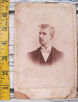 Vintage Antique 1800s Photo Cabinet Card Young Man Terre Haute Indiana