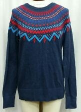 MERONA L Sweater Navy Blue Red White Chevron Ikat Crewneck Long Sleeve Pullover