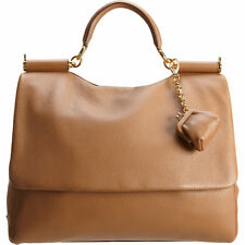Dolce & Gabbana Miss Sicily Large Camel Brown Deerskin Leather Purse w/ Dust Bag