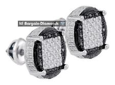 black white diamond .23-carats round stud earrings 925 men unisex screwback