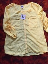 Anne Klein Yellow Fashion Sheer Large Blouse 3/4 Sleeve NWT