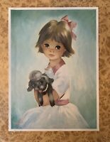 Dallas Simpson Armful Of Mischeif Print 26.5cm x 37cm Wide Eyed Girl Poodle