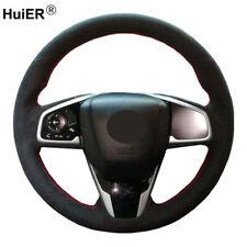 DIY Suede Car Steering Wheel Cover For Honda Civic 10 2016-2020 CRV CR-V Clarity