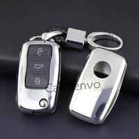 Silver Flip Car Key Keychain Holder Case For Volkswagen Passat Jetta Golf Tiguan