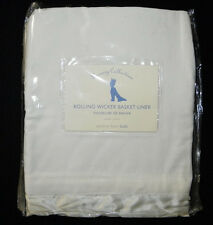 Pottery Barn Kids Basket Liner Rolling Wicker Small NEW White Luxury Silk/Velour