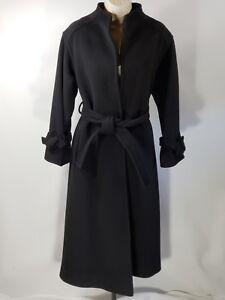 Vtg Bill Haire Black Full Length Wool Collerless Belted Wrap Coat - Size 8