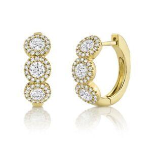 14K Yellow Gold Diamond Huggie Earrings Hoop Round Cut Natural 1.10 TCW Halo