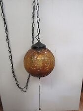 Vintage  Amber Glass Hanging Swag Pendant Lamp Light MID Hollywood 2160H