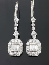 Solid Dangle Earrings Cocktail In 925 Sterling Silver White Art Deco Jewelry Cz