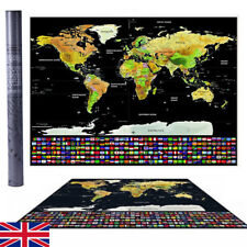 Travel Tracker Big Scratch Off World Map Poster with UK States Country Flags SW