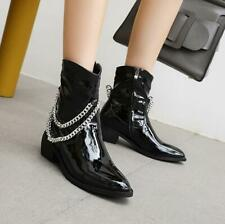 Women Punk Goth Chian Faux Leather Pointed Toe Side Zipper Gladiator Motor Boot