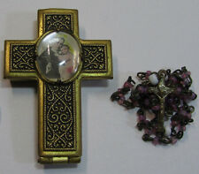 † 1800s ANTIQUE ST ANTHONY BUBBLE CASE LOCKET & PINK OPAQUE GLASS TINY ROSARY  †