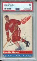1954 Topps Hockey #8 Gordie Howe Card Graded PSA 1.5 Red Wings