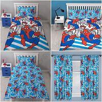 SPIDERMAN POPART BEDROOM RANGE - CURTAINS, DUVET COVER SET SINGLE & DOUBLE